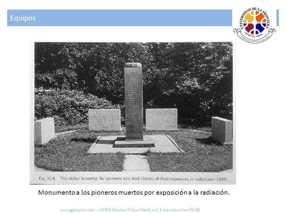 Monumento a los pioneros muertos por exposición a la radiación. Equipos www.gphysics.net – UFRO-Master-Fisica-Medica-1-1-Introduccion-08.08