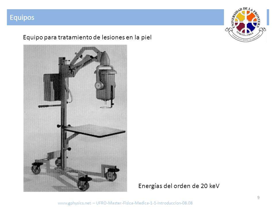 Equipos 9 Equipo para tratamiento de lesiones en la piel Energías del orden de 20 keV www.gphysics.net – UFRO-Master-Fisica-Medica-1-1-Introduccion-08