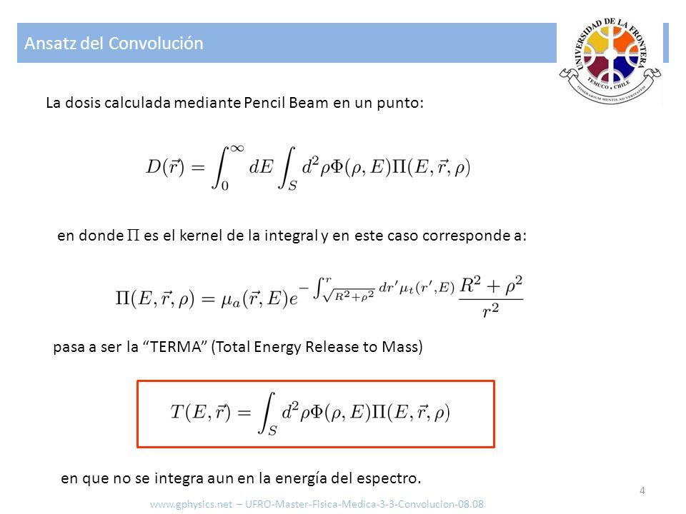 Ansatz Convolución 5 Para calcular la dosis en un punto se realiza una Convolución (integración sobre el espacio en torno al punto de scattering) con una función de peso a definir: A modo de ejemplo una de las funciones de peso empleadas es: que emula la decrecimiento en r 2 y un fenómeno de absorción similar al de los fotones con los términos exponenciales www.gphysics.net – UFRO-Master-Fisica-Medica-3-3-Convolucion-08.08