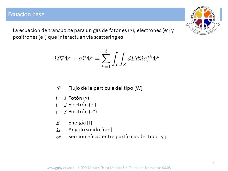 Ecuación de Dosis 5 www.gphysics.net – UFRO-Master-Fisica-Medica-3-4-Teoria-de-Transporte-08.08 Como solo las partículas cargadas pueden transferir energía al organismo, la dosis se calcula con: r D(r) E Ω S k (r,E) Φ i (r,Ω,E) Posición [m] Dosis en el punto r Energía de la partícula [J] Angulo solido [rad] Stopping Power [J/m] Flujo de la partícula del tipo [W]
