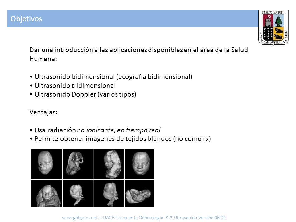 Dar una introducción a las aplicaciones disponibles en el área de la Salud Humana: Ultrasonido bidimensional (ecografía bidimensional) Ultrasonido tri