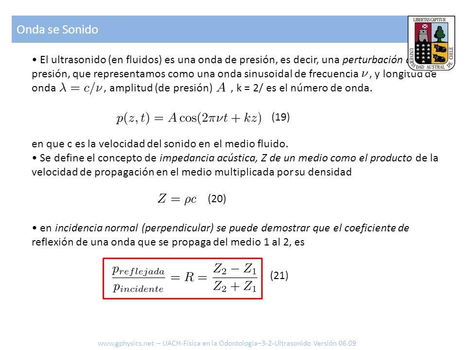 El ultrasonido (en fluidos) es una onda de presión, es decir, una perturbación de la presión, que representamos como una onda sinusoidal de frecuencia