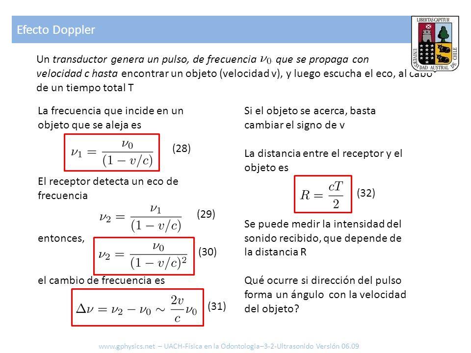 Un transductor genera un pulso, de frecuencia, que se propaga con velocidad c hasta encontrar un objeto (velocidad v), y luego escucha el eco, al cabo