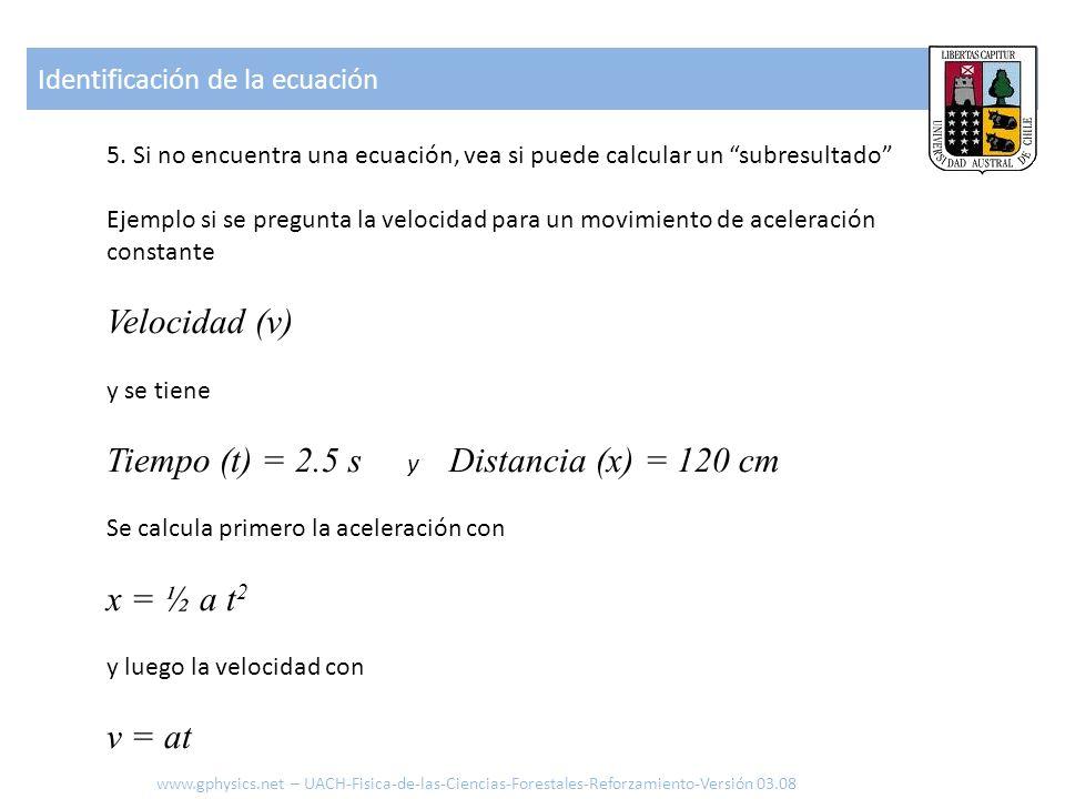 5. Si no encuentra una ecuación, vea si puede calcular un subresultado Ejemplo si se pregunta la velocidad para un movimiento de aceleración constante