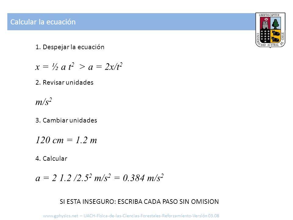 1. Despejar la ecuación x = ½ a t 2 > a = 2x/t 2 2. Revisar unidades m/s 2 3. Cambiar unidades 120 cm = 1.2 m 4. Calcular a = 2 1.2 /2.5 2 m/s 2 = 0.3