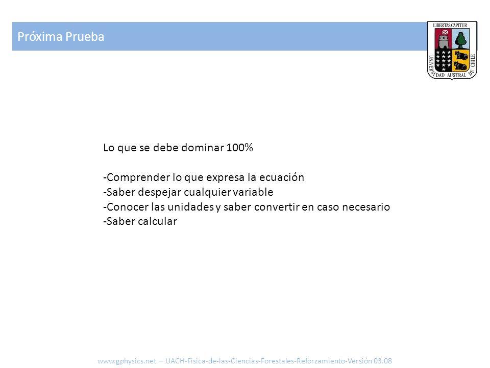 Próxima Prueba www.gphysics.net – UACH-Fisica-de-las-Ciencias-Forestales-Reforzamiento-Versión 03.08 Lo que se debe dominar 100% -Comprender lo que ex