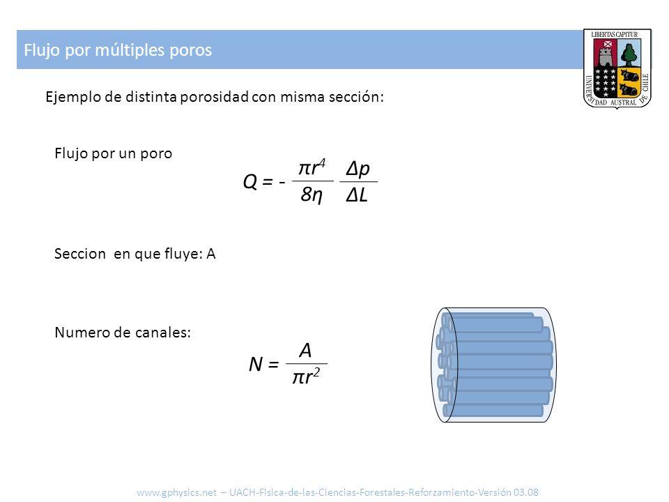 Flujo por múltiples poros Ejemplo de distinta porosidad con misma sección: Q = - πr48ηπr48η ΔpΔLΔpΔL Flujo por un poro Seccion en que fluye: A Numero
