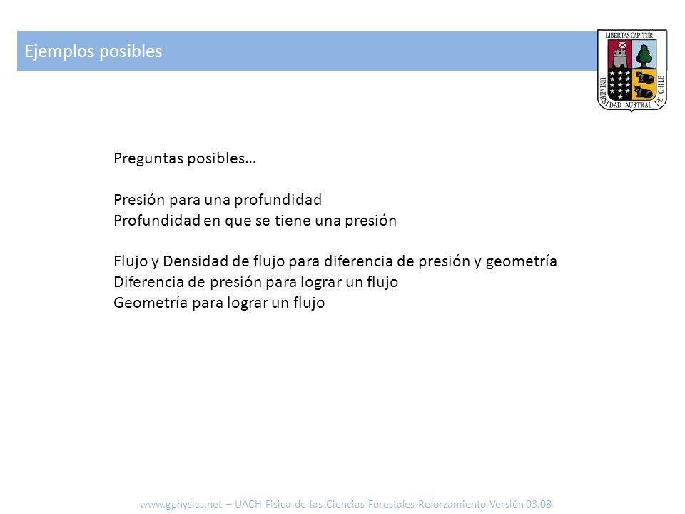 Ejemplos posibles www.gphysics.net – UACH-Fisica-de-las-Ciencias-Forestales-Reforzamiento-Versión 03.08 Preguntas posibles… Presión para una profundid
