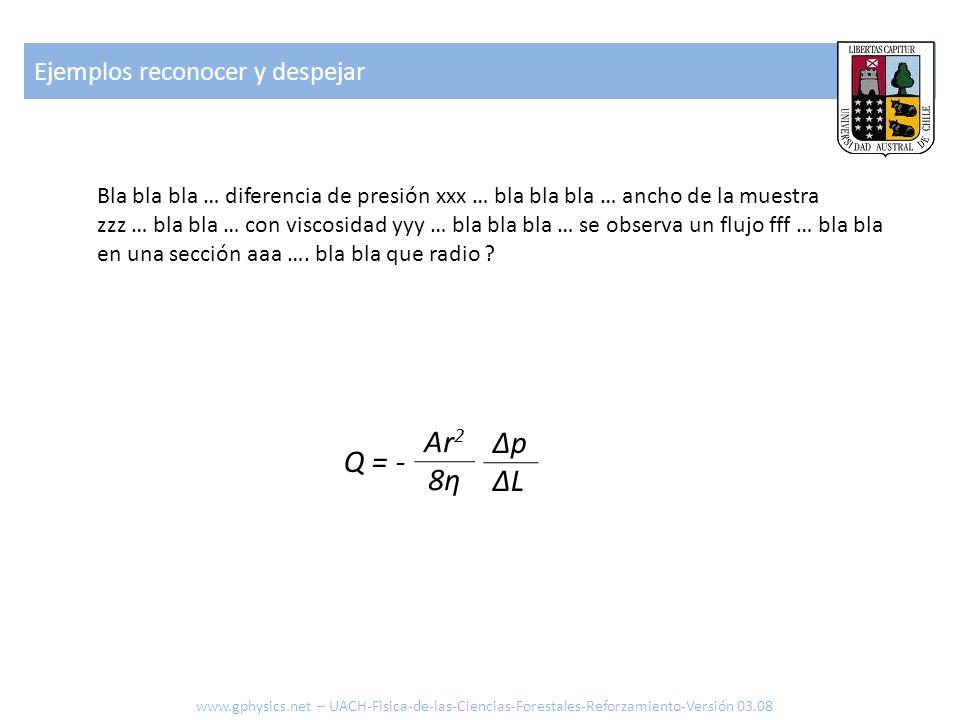 Ejemplos reconocer y despejar www.gphysics.net – UACH-Fisica-de-las-Ciencias-Forestales-Reforzamiento-Versión 03.08 Bla bla bla … diferencia de presió