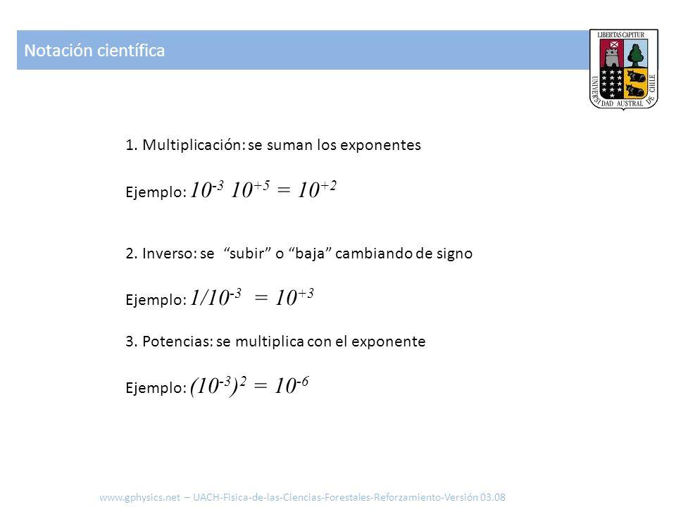1. Multiplicación: se suman los exponentes Ejemplo: 10 -3 10 +5 = 10 +2 2. Inverso: se subir o baja cambiando de signo Ejemplo: 1/10 -3 = 10 +3 3. Pot
