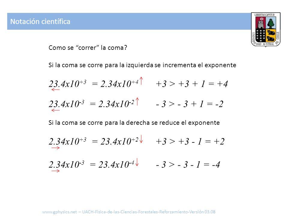 Como se correr la coma? Si la coma se corre para la izquierda se incrementa el exponente 23.4x10 +3 = 2.34x10 +4 +3 > +3 + 1 = +4 23.4x10 -3 = 2.34x10