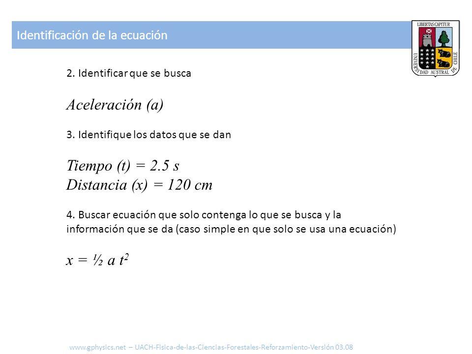 2. Identificar que se busca Aceleración (a) 3. Identifique los datos que se dan Tiempo (t) = 2.5 s Distancia (x) = 120 cm 4. Buscar ecuación que solo