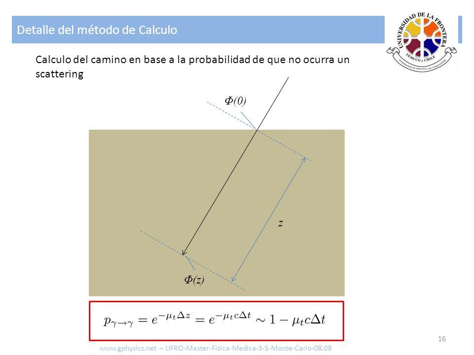 Detalle del método de Calculo 16 Φ(0) Φ(z) z Calculo del camino en base a la probabilidad de que no ocurra un scattering www.gphysics.net – UFRO-Maste