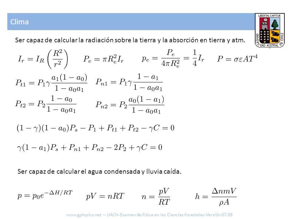 Clima www.gphysics.net – UACH-Examen de Física en las Ciencias Forestales-Versión 07.09 Ser capaz de calcular la radiación sobre la tierra y la absorción en tierra y atm.