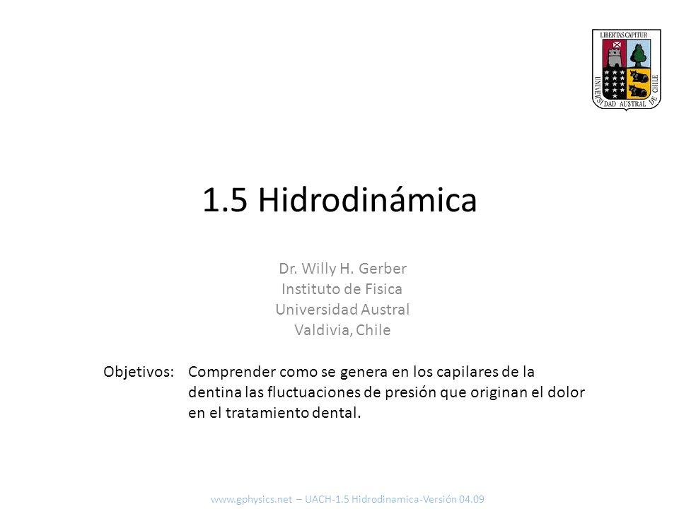 1.5 Hidrodinámica Comprender como se genera en los capilares de la dentina las fluctuaciones de presión que originan el dolor en el tratamiento dental.