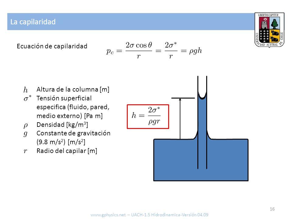 La capilaridad Ecuación de capilaridad Altura de la columna [m] Tensión superficial especifica (fluido, pared, medio externo) [Pa m] Densidad [kg/m 3 ] Constante de gravitación (9.8 m/s 2 ) [m/s 2 ] Radio del capilar [m] 16 www.gphysics.net – UACH-1.5 Hidrodinamica-Versión 04.09