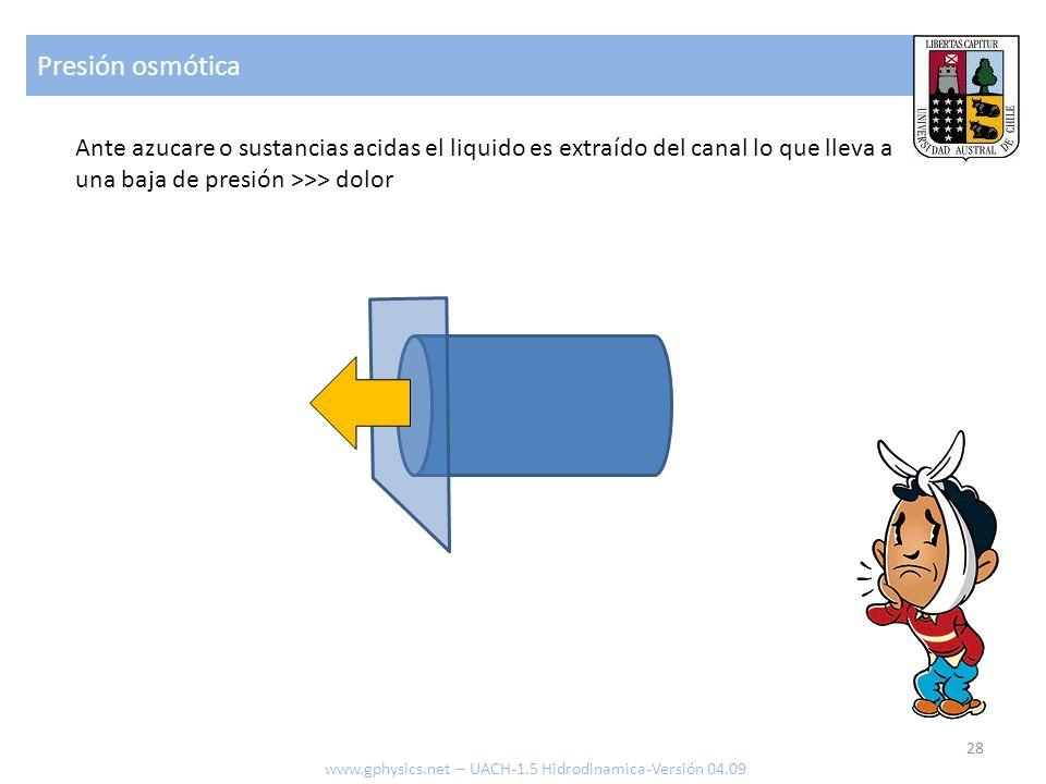 Presión osmótica 28 www.gphysics.net – UACH-1.5 Hidrodinamica-Versión 04.09 Ante azucare o sustancias acidas el liquido es extraído del canal lo que lleva a una baja de presión >>> dolor