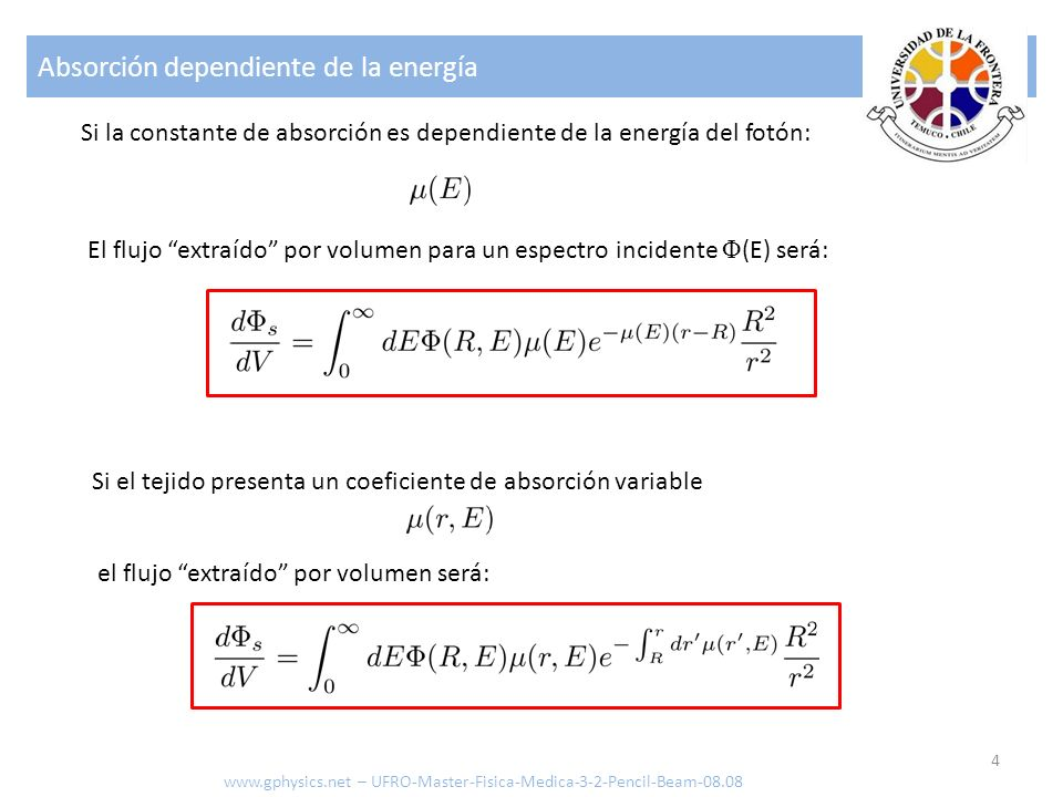 Absorción dependiente de la energía 4 www.gphysics.net – UFRO-Master-Fisica-Medica-3-2-Pencil-Beam-08.08 Si la constante de absorción es dependiente d