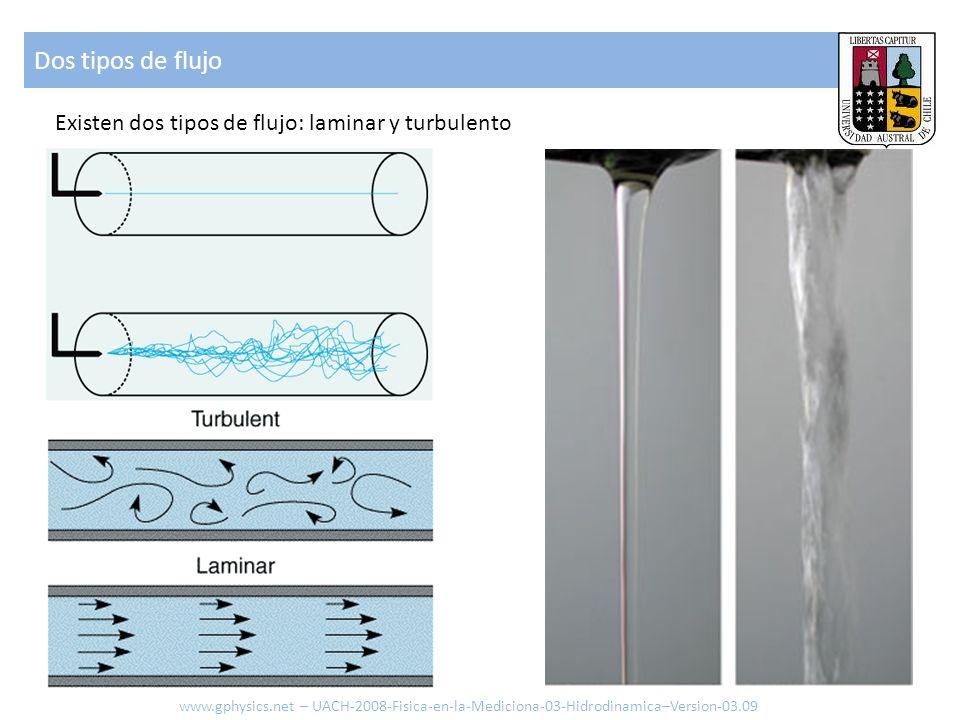 Existen dos tipos de flujo: laminar y turbulento Dos tipos de flujo www.gphysics.net – UACH-2008-Fisica-en-la-Mediciona-03-Hidrodinamica–Version-03.09