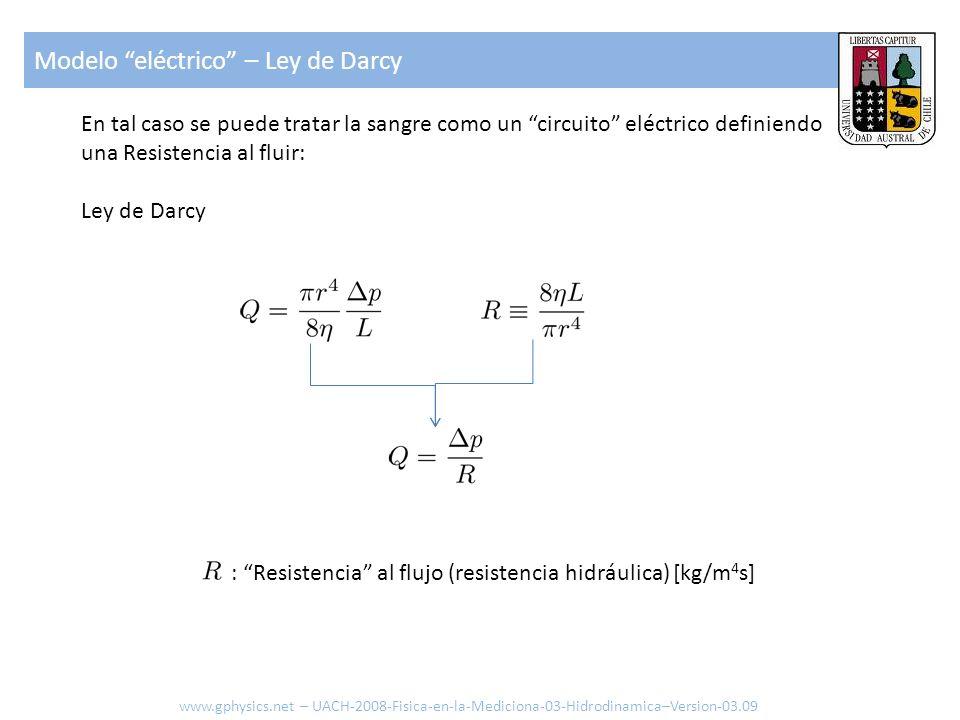 En tal caso se puede tratar la sangre como un circuito eléctrico definiendo una Resistencia al fluir: Ley de Darcy : Resistencia al flujo (resistencia