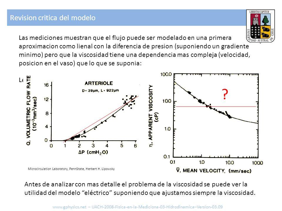 Las mediciones muestran que el flujo puede ser modelado en una primera aproximacion como lienal con la diferencia de presion (suponiendo un gradiente