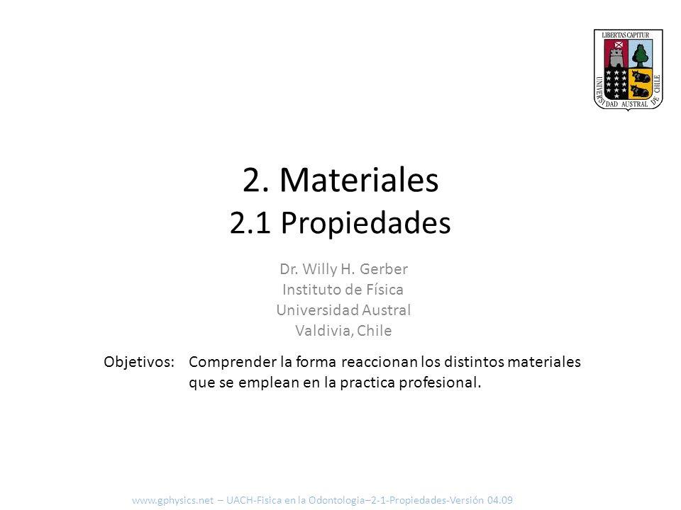 2. Materiales 2.1 Propiedades Comprender la forma reaccionan los distintos materiales que se emplean en la practica profesional. Objetivos: www.gphysi