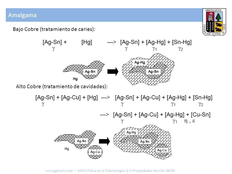 Amalgama www.gphysics.net – UACH-Fisica en la Odontologia–2-1-Propiedades-Versión 04.09 Bajo Cobre (tratamiento de caries): Alto Cobre (tratamiento de