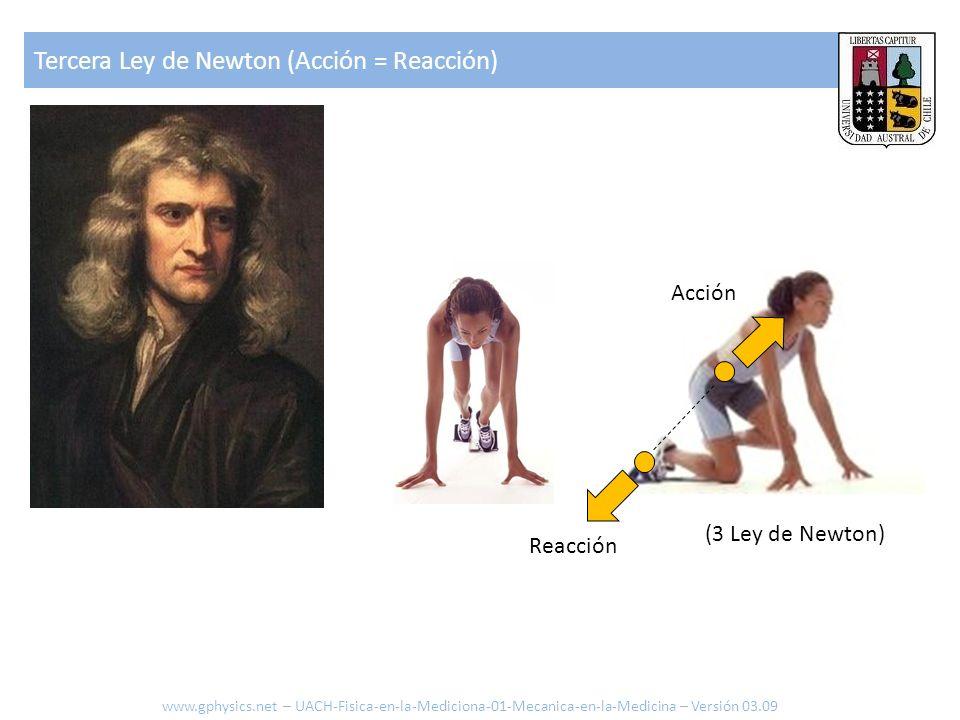 Reacción Acción (3 Ley de Newton) Tercera Ley de Newton (Acción = Reacción) www.gphysics.net – UACH-Fisica-en-la-Mediciona-01-Mecanica-en-la-Medicina