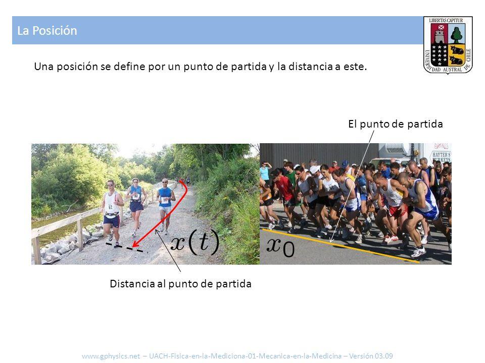 La Posición Una posición se define por un punto de partida y la distancia a este. El punto de partida Distancia al punto de partida www.gphysics.net –