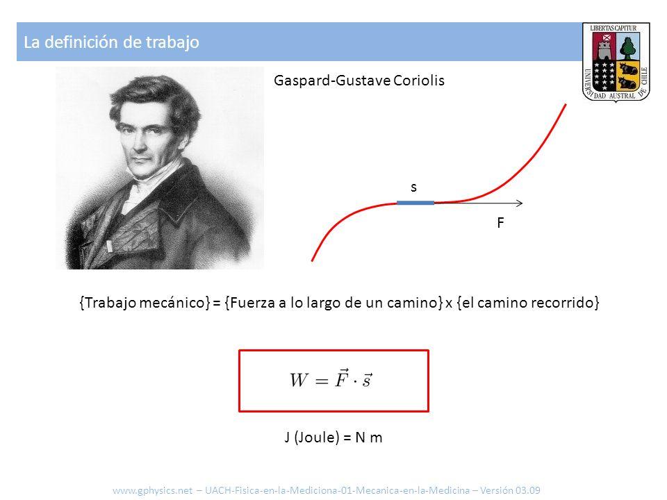 Gaspard-Gustave Coriolis {Trabajo mecánico} = {Fuerza a lo largo de un camino} x {el camino recorrido} s F La definición de trabajo J (Joule) = N m ww