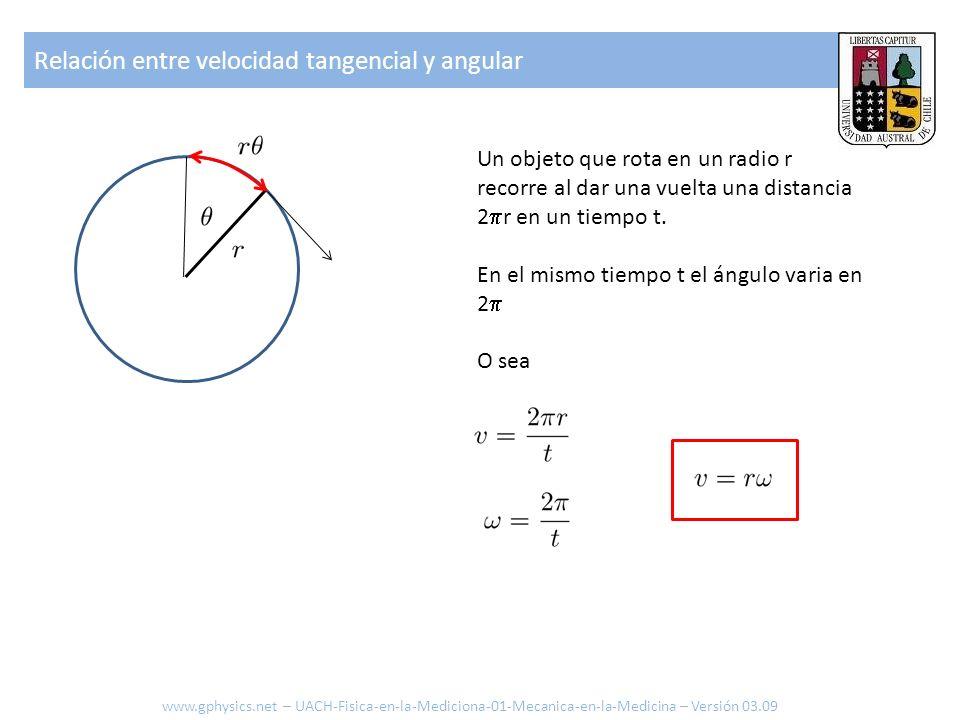 Relación entre velocidad tangencial y angular Un objeto que rota en un radio r recorre al dar una vuelta una distancia 2 r en un tiempo t. En el mismo