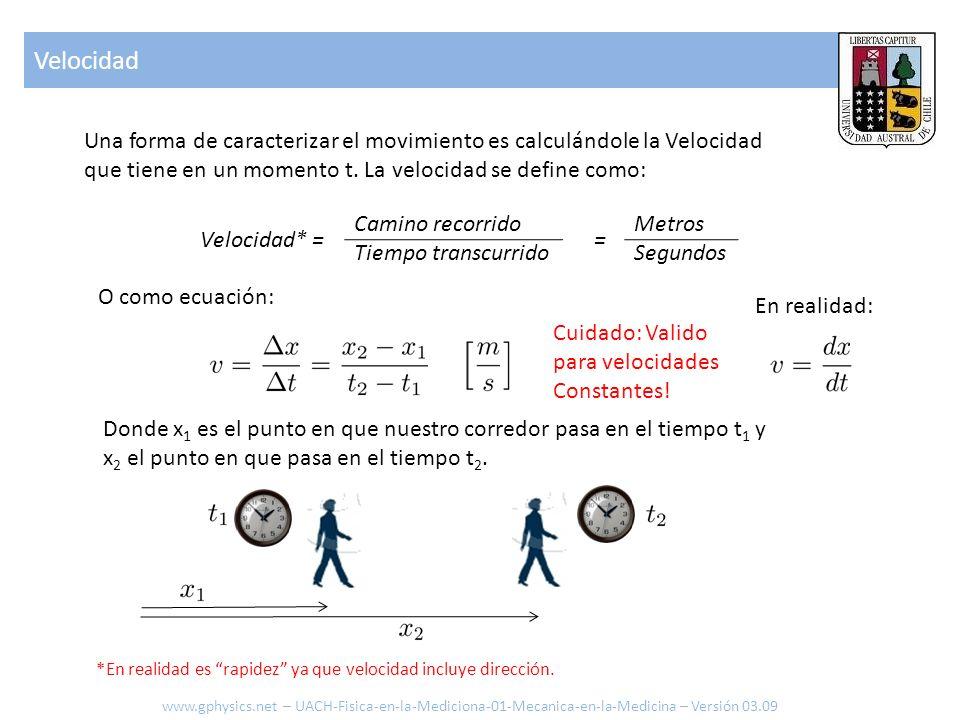 Velocidad Una forma de caracterizar el movimiento es calculándole la Velocidad que tiene en un momento t. La velocidad se define como: Velocidad* = Ca