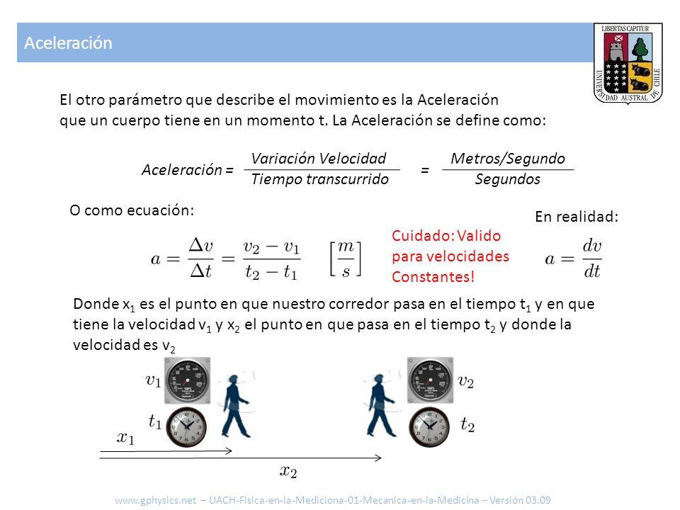 Aceleración El otro parámetro que describe el movimiento es la Aceleración que un cuerpo tiene en un momento t. La Aceleración se define como: Acelera