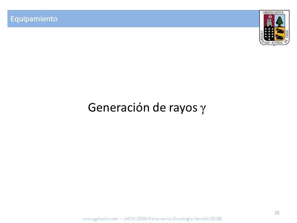 Equipamiento 30 www.gphysics.net – UACH-2008-Fisica-en-la-Oncologia-Versión 05.08 Generación de rayos γ