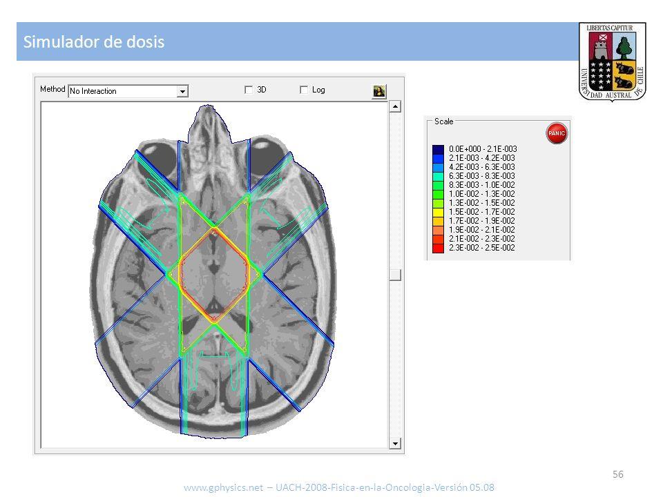 Simulador de dosis 56 www.gphysics.net – UACH-2008-Fisica-en-la-Oncologia-Versión 05.08