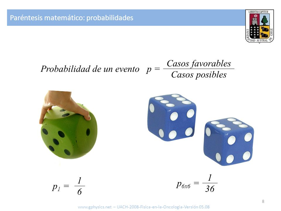 Paréntesis matemático: probabilidades 8 www.gphysics.net – UACH-2008-Fisica-en-la-Oncologia-Versión 05.08 Probabilidad de un evento p = Casos favorabl