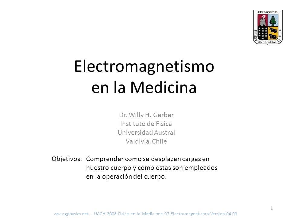 Electromagnetismo en la Medicina Objetivos:Comprender como se desplazan cargas en nuestro cuerpo y como estas son empleados en la operación del cuerpo