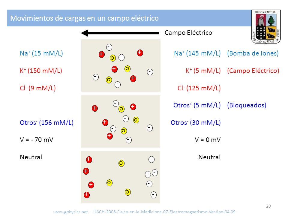 Movimientos de cargas en un campo eléctrico www.gphysics.net – UACH-2008-Fisica-en-la-Mediciona-07-Electromagnetismo-Version-04.09 20 Campo Eléctrico