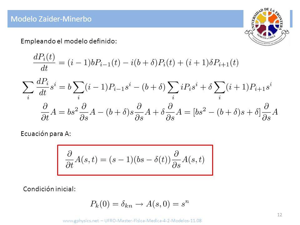 Modelo Zaider-Minerbo 12 www.gphysics.net – UFRO-Master-Fisica-Medica-4-2-Modelos-11.08 Empleando el modelo definido: Condición inicial: Ecuación para