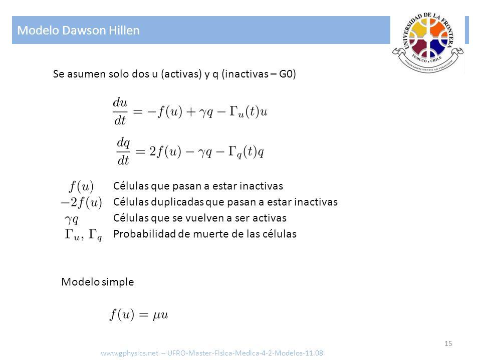 Modelo Dawson Hillen 15 www.gphysics.net – UFRO-Master-Fisica-Medica-4-2-Modelos-11.08 Se asumen solo dos u (activas) y q (inactivas – G0) Células que