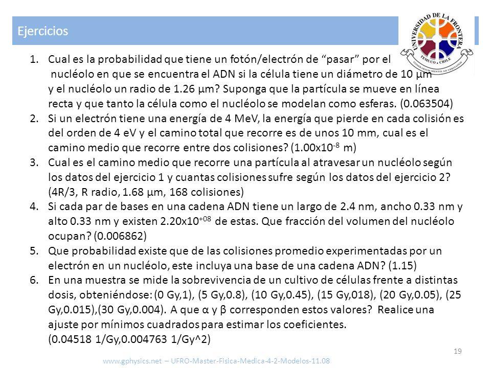 Ejercicios 19 www.gphysics.net – UFRO-Master-Fisica-Medica-4-2-Modelos-11.08 1.Cual es la probabilidad que tiene un fotón/electrón de pasar por el nuc