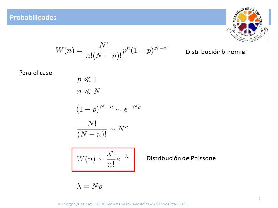 Probabilidades 5 www.gphysics.net – UFRO-Master-Fisica-Medica-4-2-Modelos-11.08 Para el caso Distribución binomial Distribución de Poissone