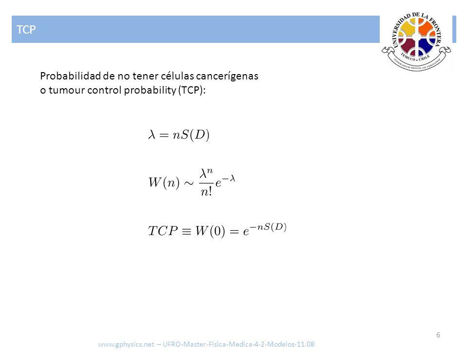 Modelos de probabilidad 7 www.gphysics.net – UFRO-Master-Fisica-Medica-4-2-Modelos-11.08 Modelo de Poissone o modelo lineal Ansatz para la probabilidad de sobrevivencia de una célula tras ser irradiada con una dosis D: