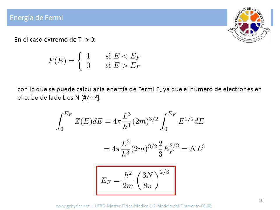 Energía de Fermi 10 En el caso extremo de T -> 0: con lo que se puede calcular la energía de Fermi E F ya que el numero de electrones en el cubo de la