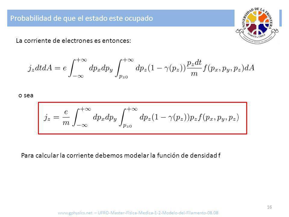 Probabilidad de que el estado este ocupado 16 La corriente de electrones es entonces: o sea Para calcular la corriente debemos modelar la función de d