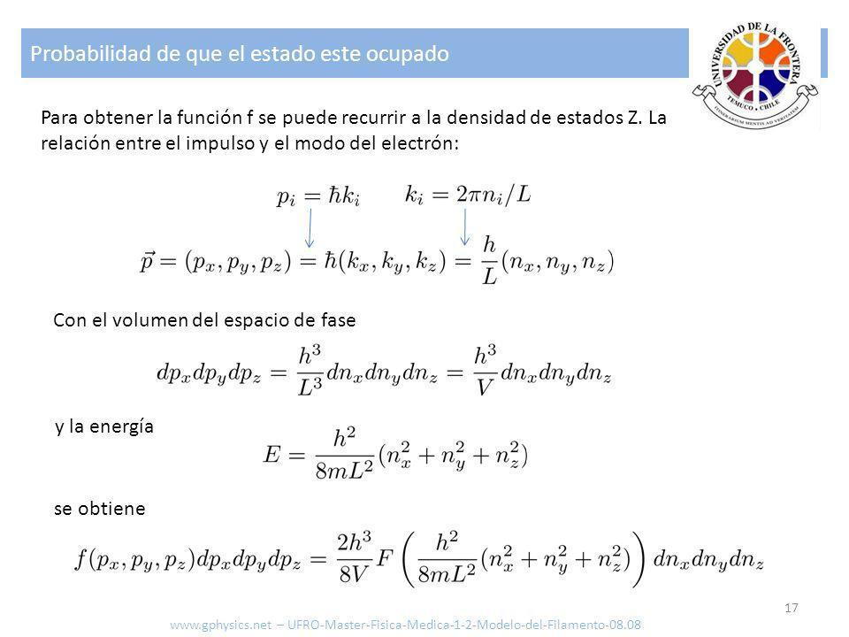 Probabilidad de que el estado este ocupado 17 Para obtener la función f se puede recurrir a la densidad de estados Z. La relación entre el impulso y e