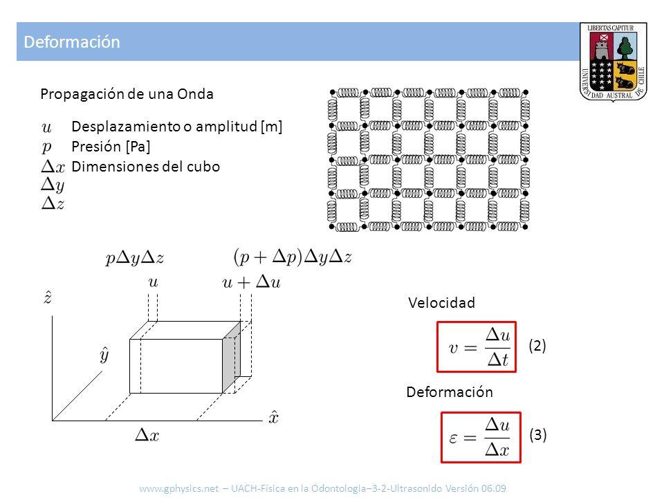 Deformación www.gphysics.net – UACH-Física en la Odontologia–3-2-Ultrasonido Versión 06.09 Propagación de una Onda Velocidad Deformación Desplazamient