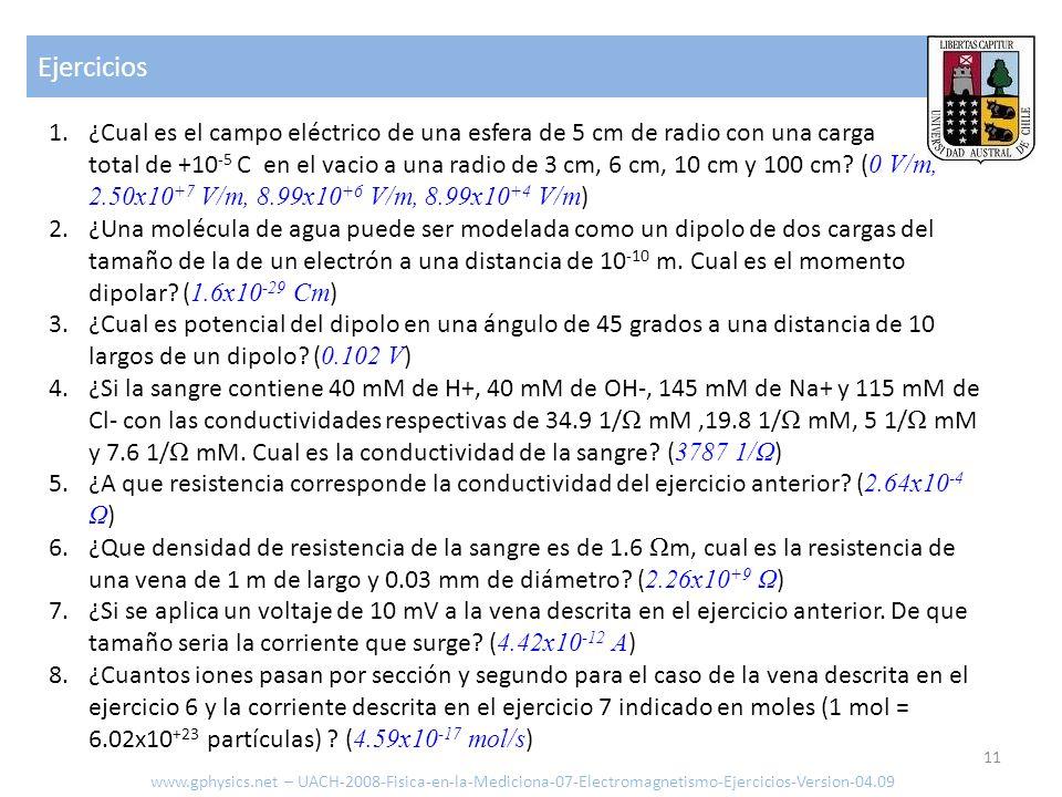 Ejercicios 11 www.gphysics.net – UACH-2008-Fisica-en-la-Mediciona-07-Electromagnetismo-Ejercicios-Version-04.09 1.¿Cual es el campo eléctrico de una e
