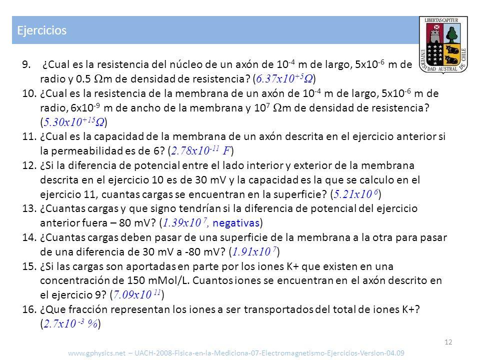 Ejercicios 12 www.gphysics.net – UACH-2008-Fisica-en-la-Mediciona-07-Electromagnetismo-Ejercicios-Version-04.09 9. ¿Cual es la resistencia del núcleo