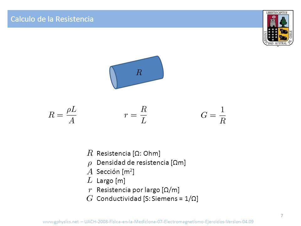 Calculo de la Resistencia 7 Resistencia [Ω: Ohm] Densidad de resistencia [Ωm] Sección [m 2 ] Largo [m] Resistencia por largo [Ω/m] Conductividad [S: S